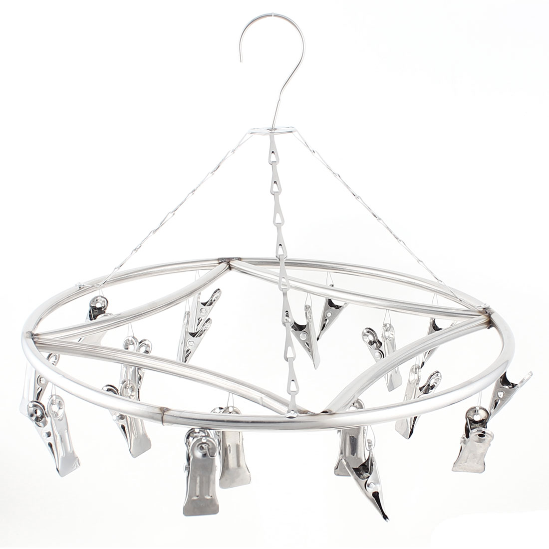 """36cm/14.2"""" Dias Stainless Steel Round 18 Pegs Socks Towels Clotheshorse Hanger Silver Tone"""