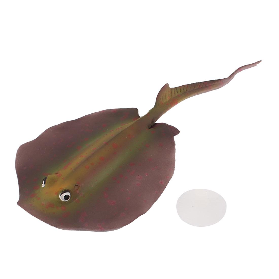 Thermoplastic Rubber Aquarium Fish Tank Artificial Stingray Ornament 19x8.5CM Brown Red