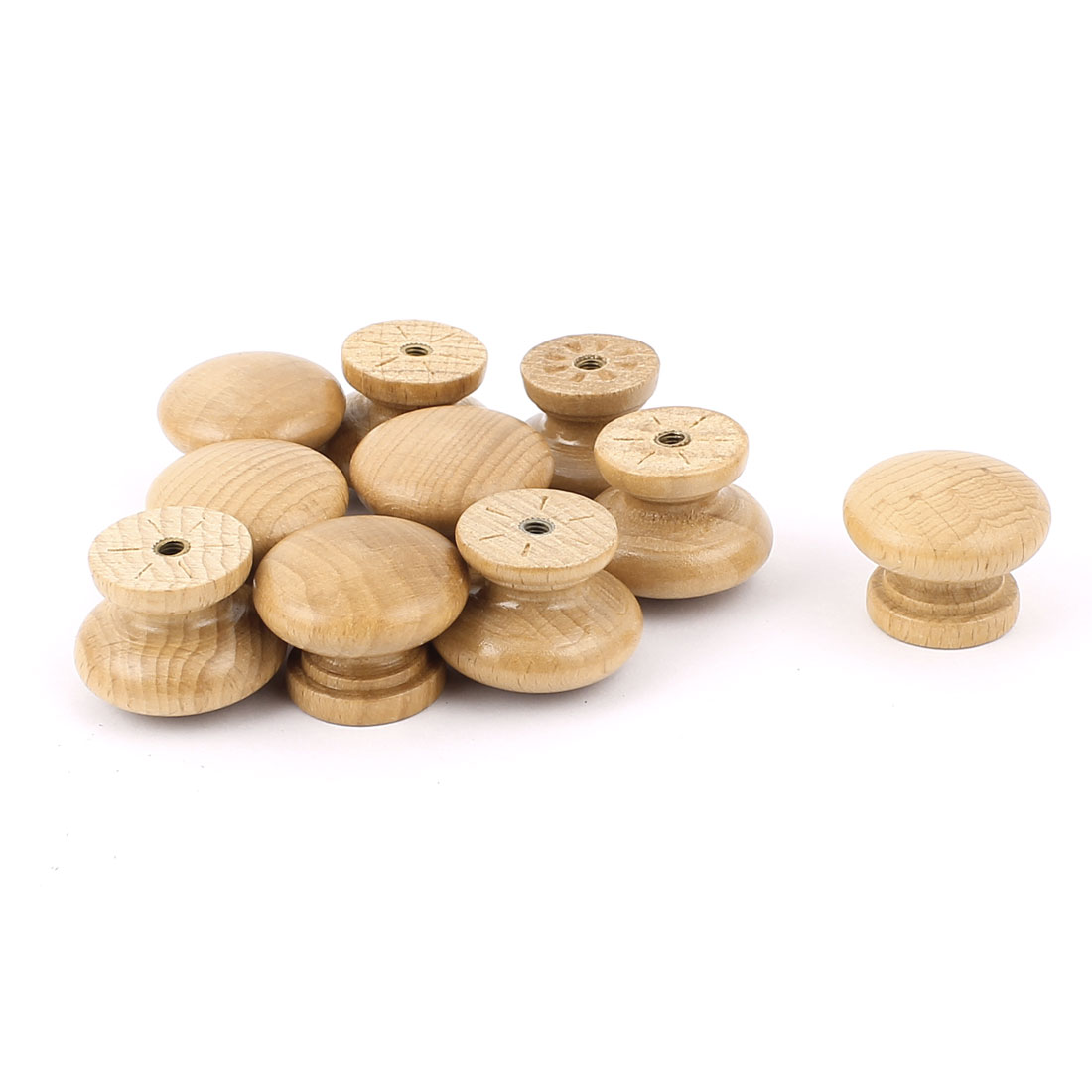 Wooden Round Kitchen Cabinet Cupboard Closet Drawer Pull Knob Handle Brown 10Pcs