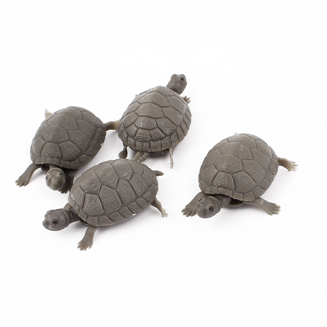 Aquarium Fish Tank Plastic Floating Artificial Tortoise Decor Ornament Gray 4Pcs