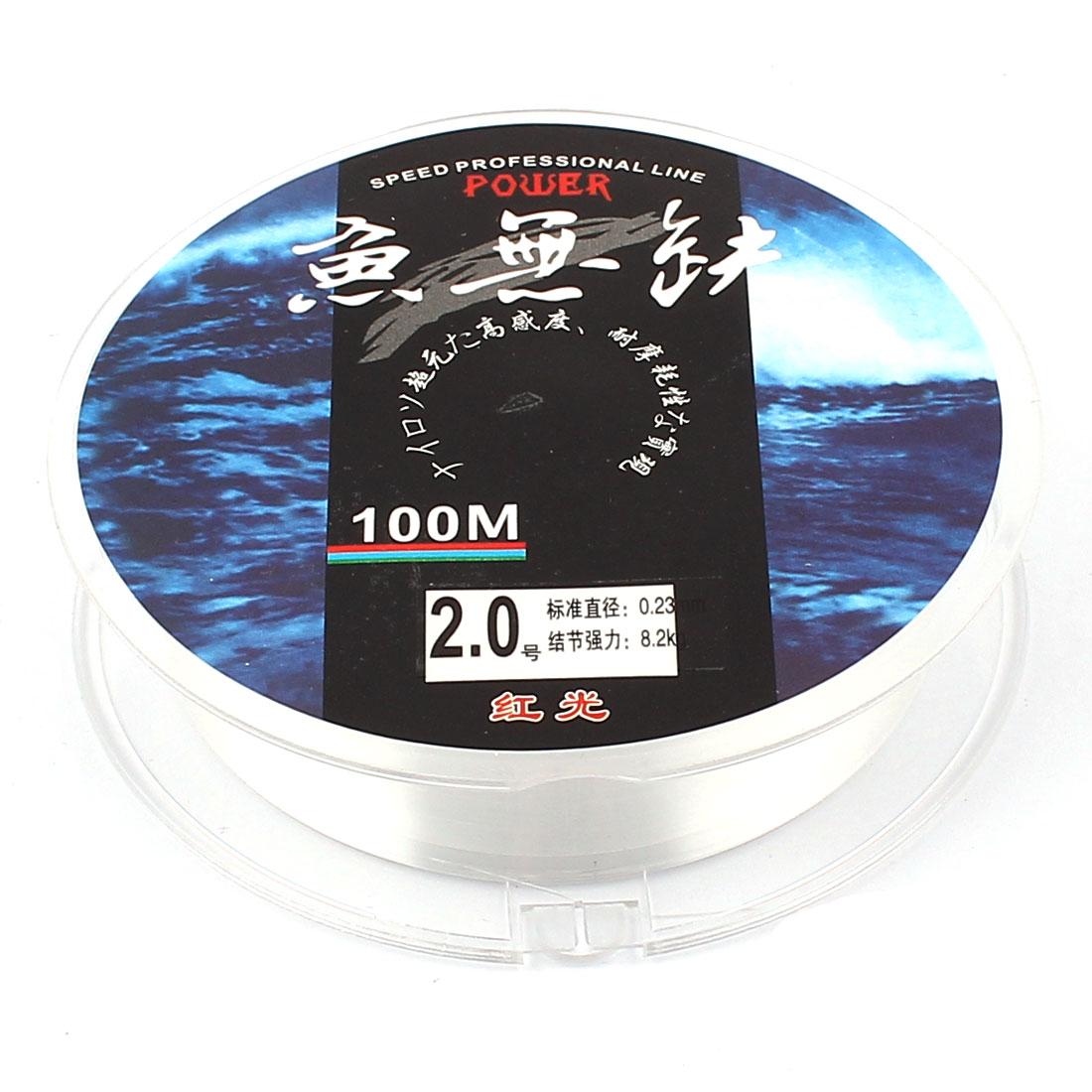 100M Long 2.0# 0.23mm Dia Thread 8.2Kg 18lb Fishing Lure Line Spool Clear