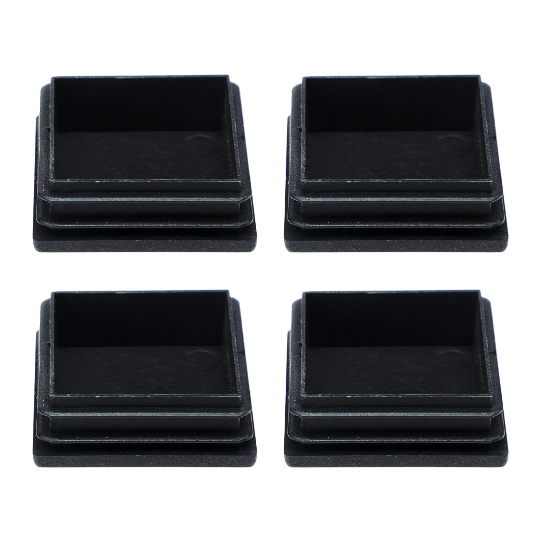 Household Plastic Square Blanking End Cap Pipe Tube Tubing Insert Black 4Pcs