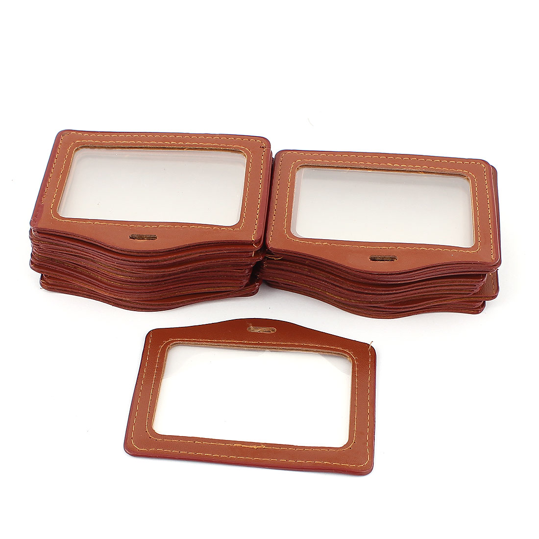 School Office Horizontal Business ID Badge Card Holder Brown Clear 25Pcs