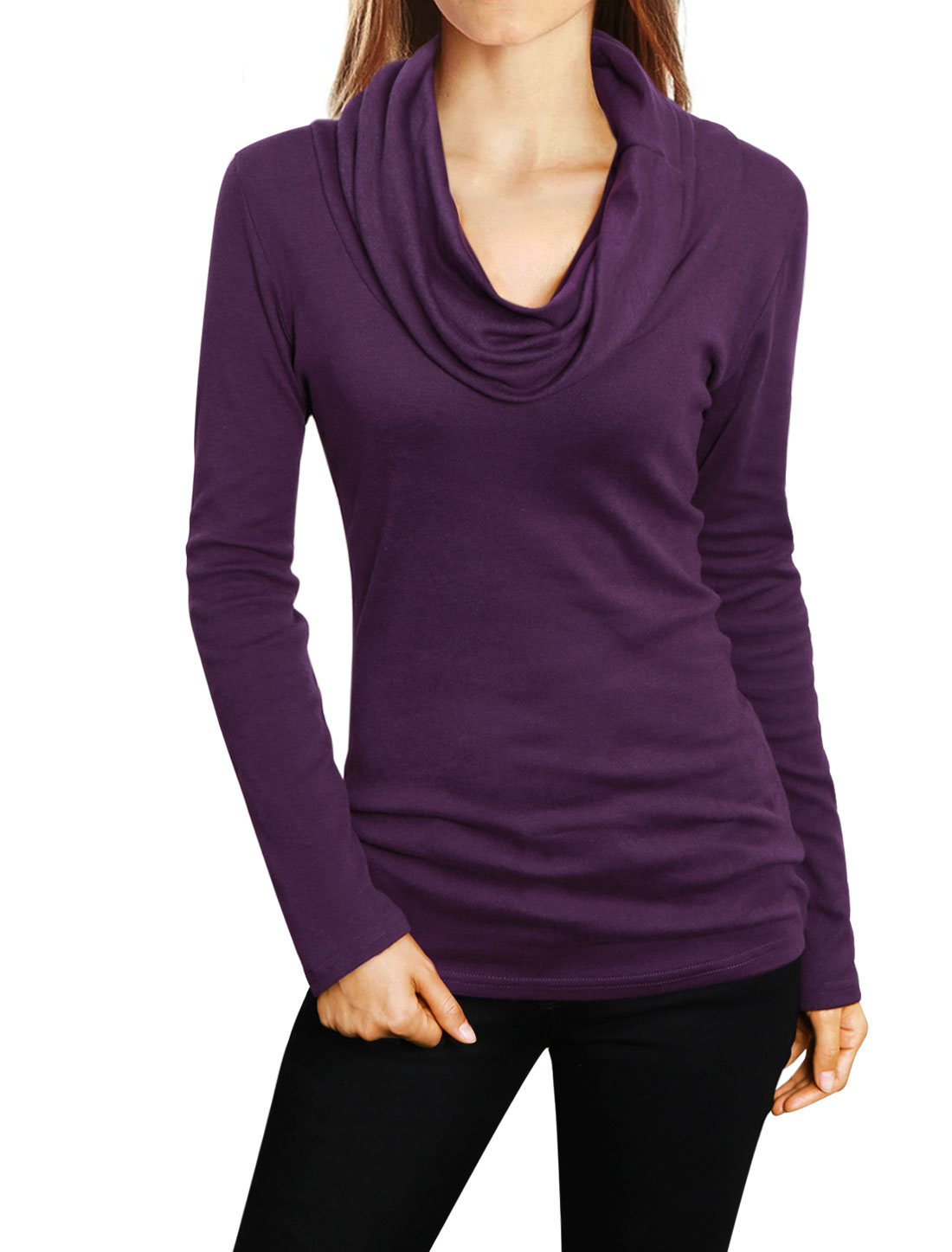 Women Cowl Neck Long Sleeves Slim Cut Slipover Casual Top Purple L