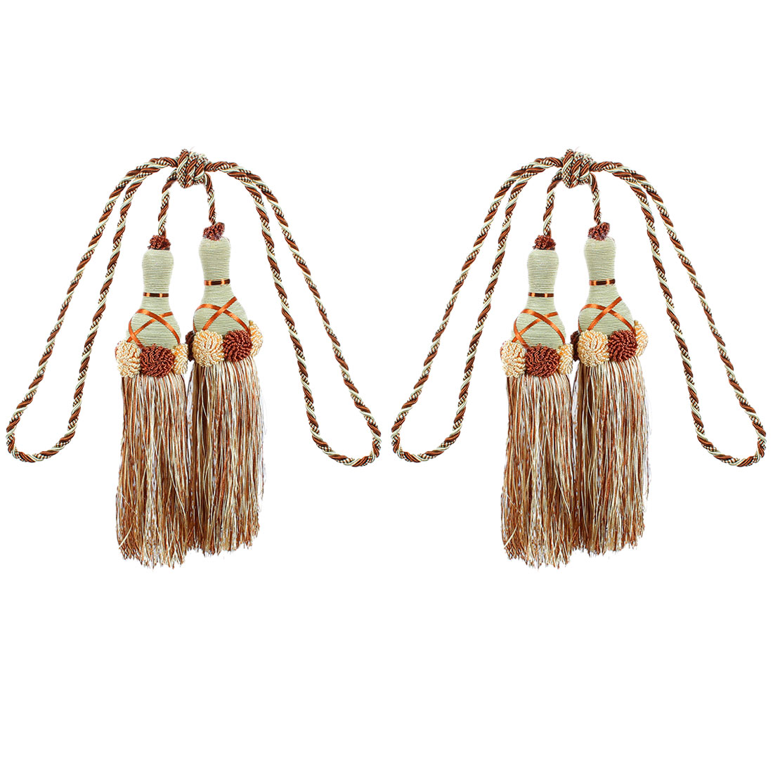 Curtain Flower Detailing Double Tassel Tiebacks 2Pcs