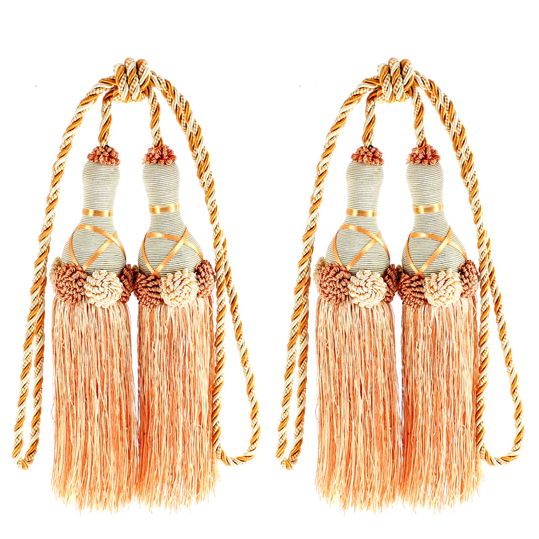Home Curtain Dual Head Tassel Tiebacks Cord 2Pcs