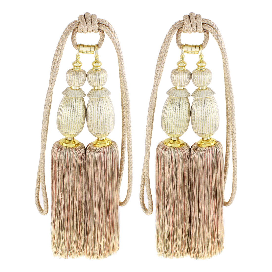 Window Curtain Dual Head Tassel Tie Backs 2Pcs