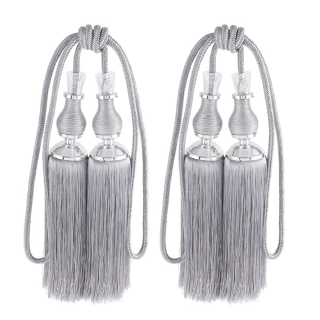 Drapery Curtain Dual Heads Tassel Tiebacks Gray Silver Tone 2Pcs
