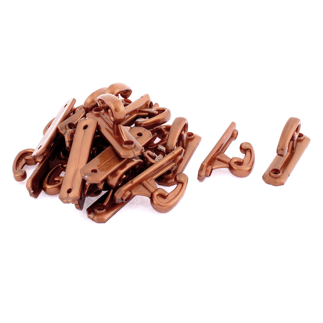Home Bedroom Plastic Curtain Hooks Brown 20Pcs