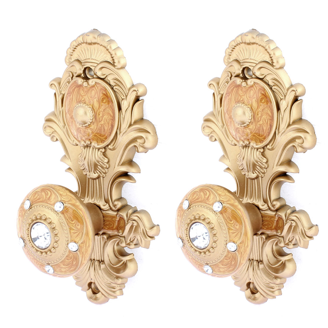 Home Curtain Clothes Towel Screws Mounted Wall Hooks Gold Tone 2Pcs