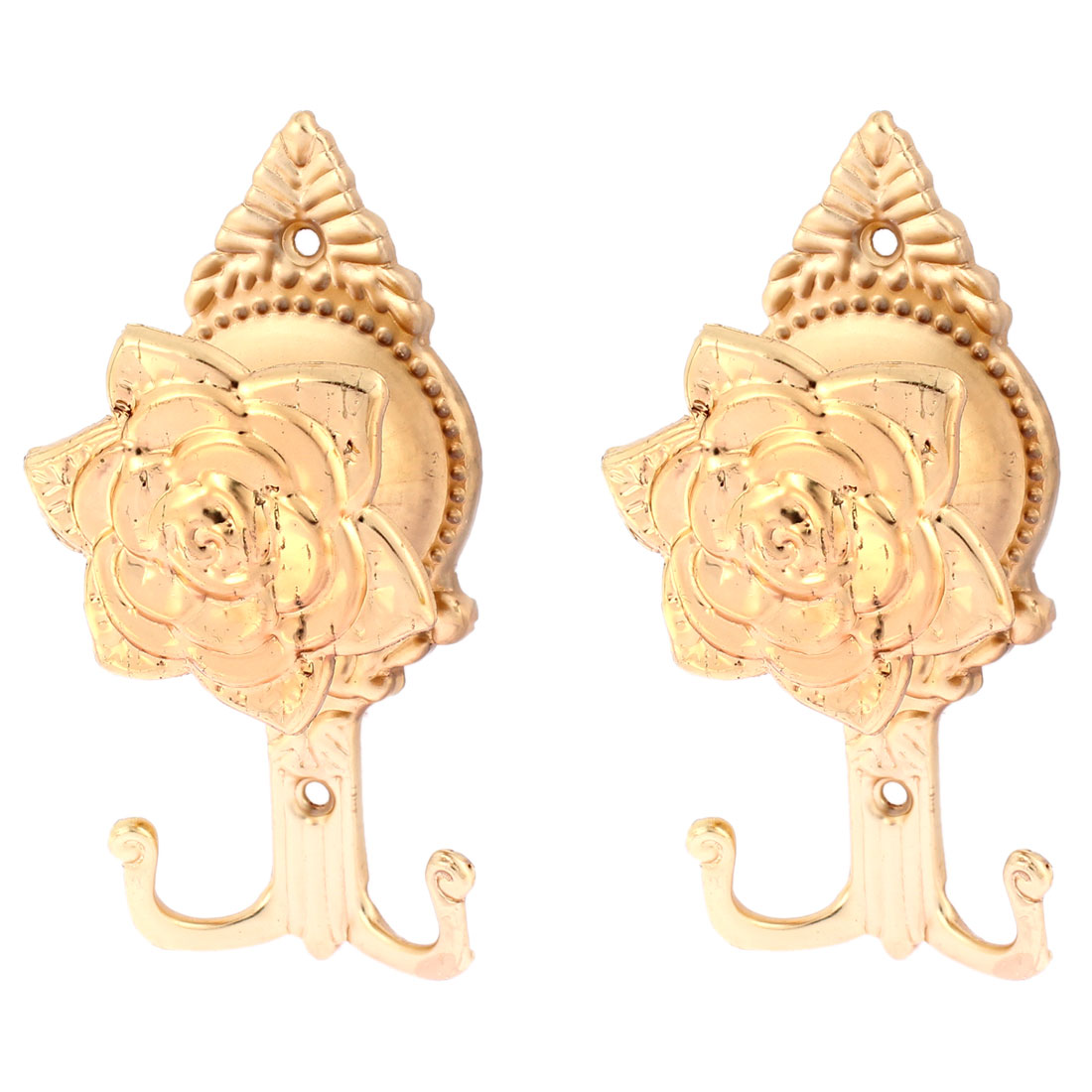 Window Curtain Rose Shape Wall Hanger Hooks Gold Tone 2Pcs