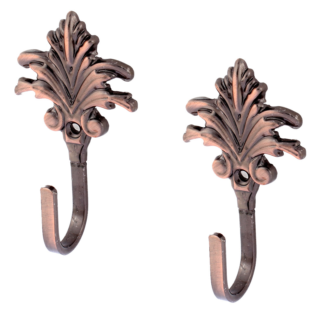 Bedroom Screw Mount Curtain Tieback Wall Hooks Copper Tone 2Pcs