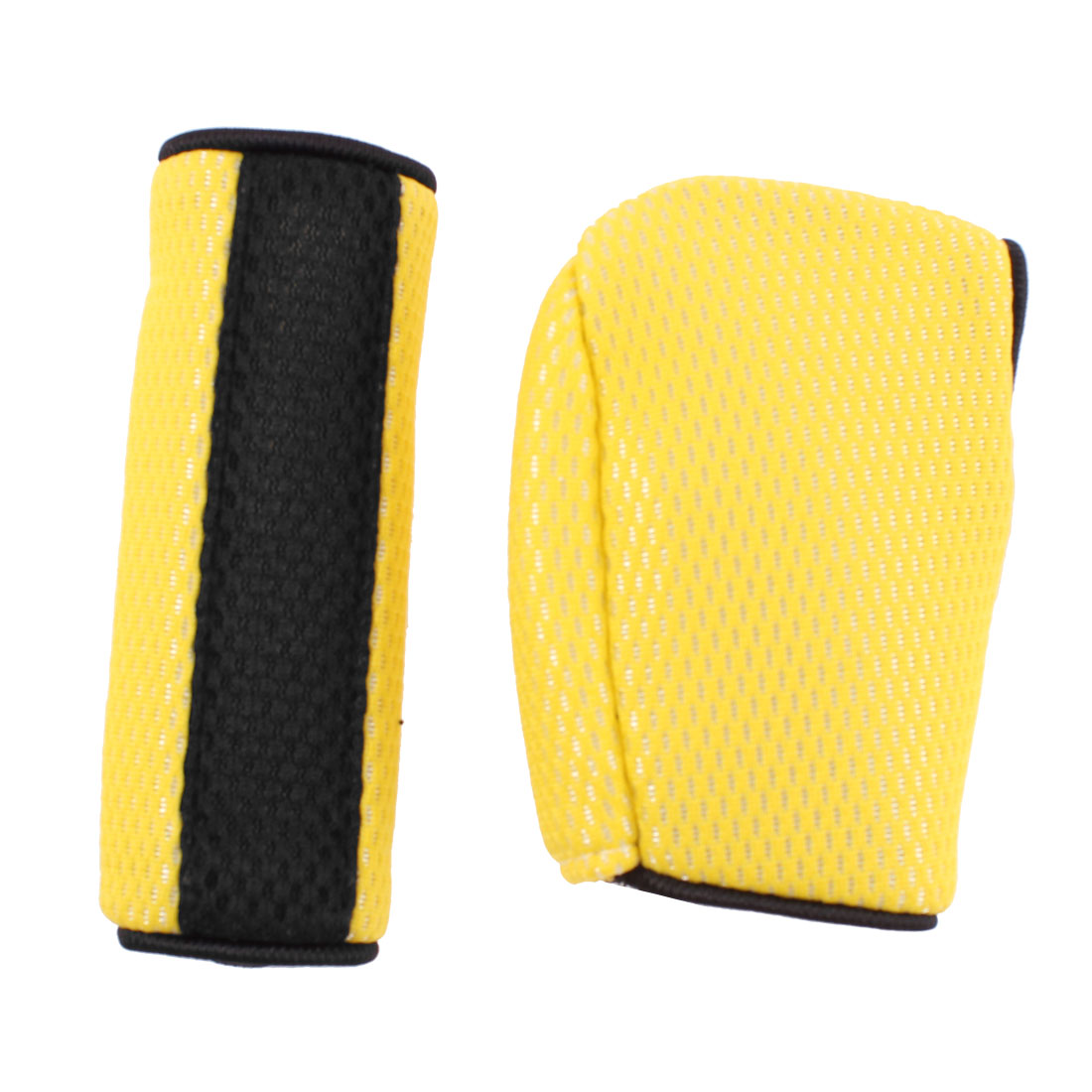 Net Design Gear Shift Knob Handbrake Cover Sleeve Yellow 2 in 1