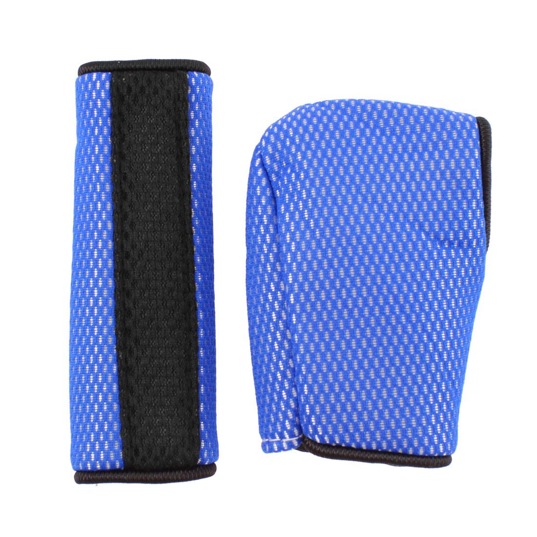 Car Hook Loop Fastener Gear Shift Knob Handbrake Cover Blue 2 in 1