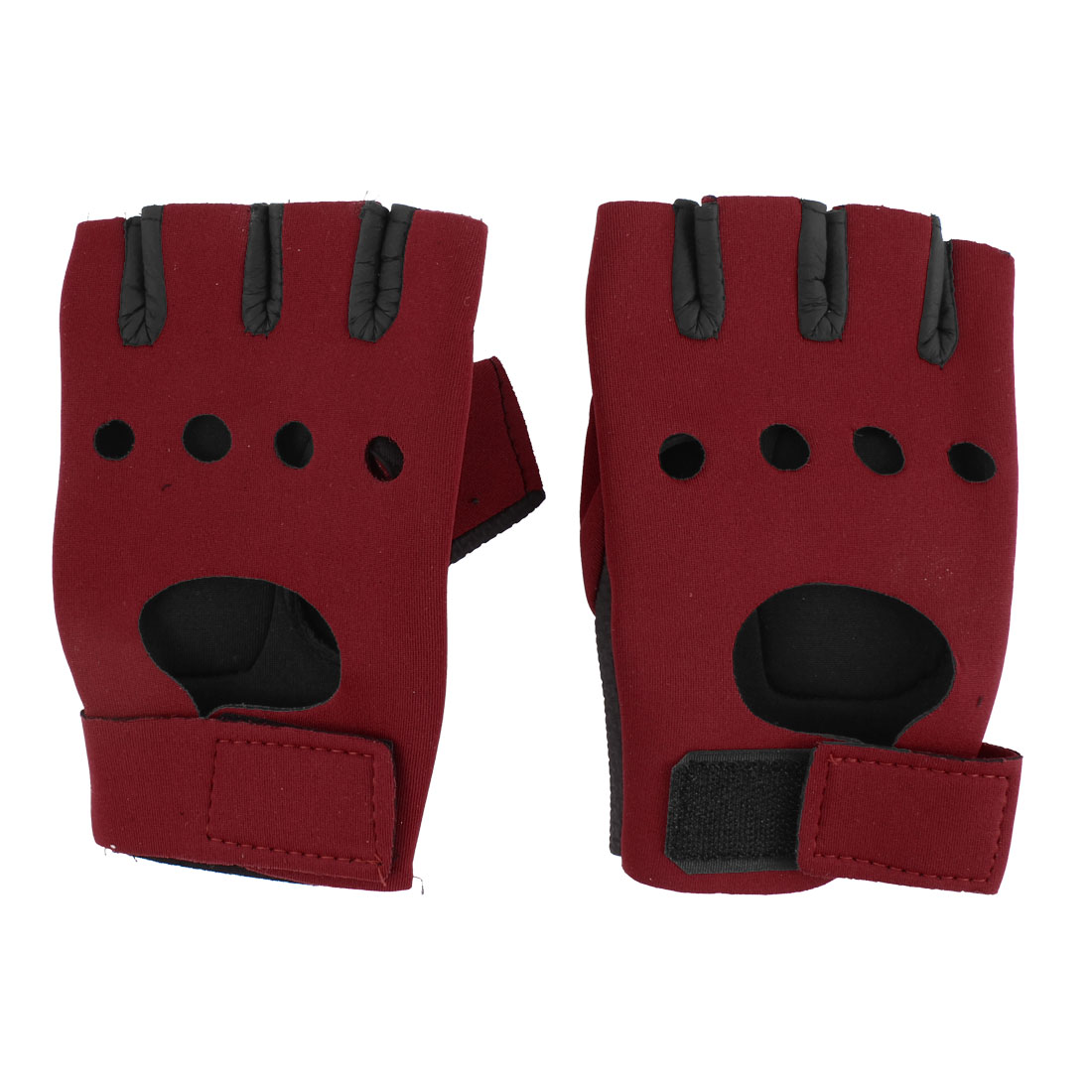Half Finger Nonslip Palm Sports Gloves Black Red