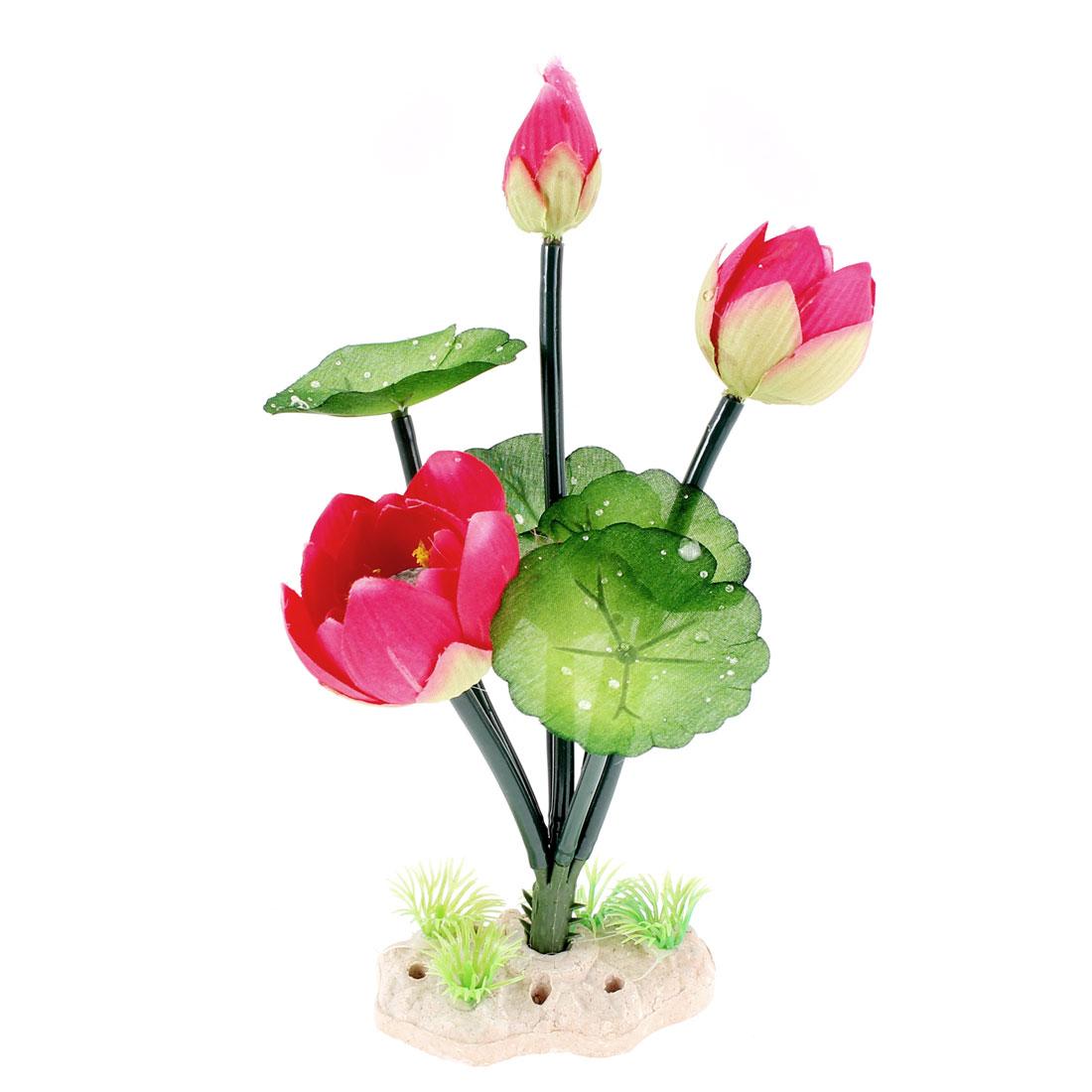 Aquarium Fish Tank Artificial Plastic Lotus Flower Plant Decor