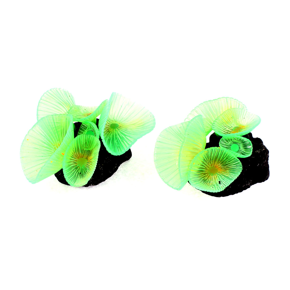 Aquarium Ceramic Base Round Leaves Plastic Plant Decor Green 2Pcs