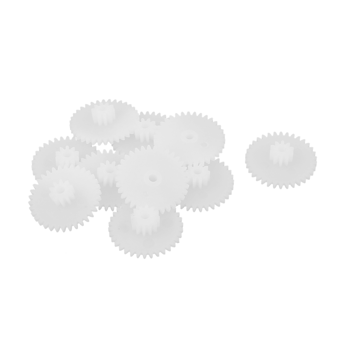 10PCS Double Deck 34102B Model White Plastic Gear for RC DIY Toys