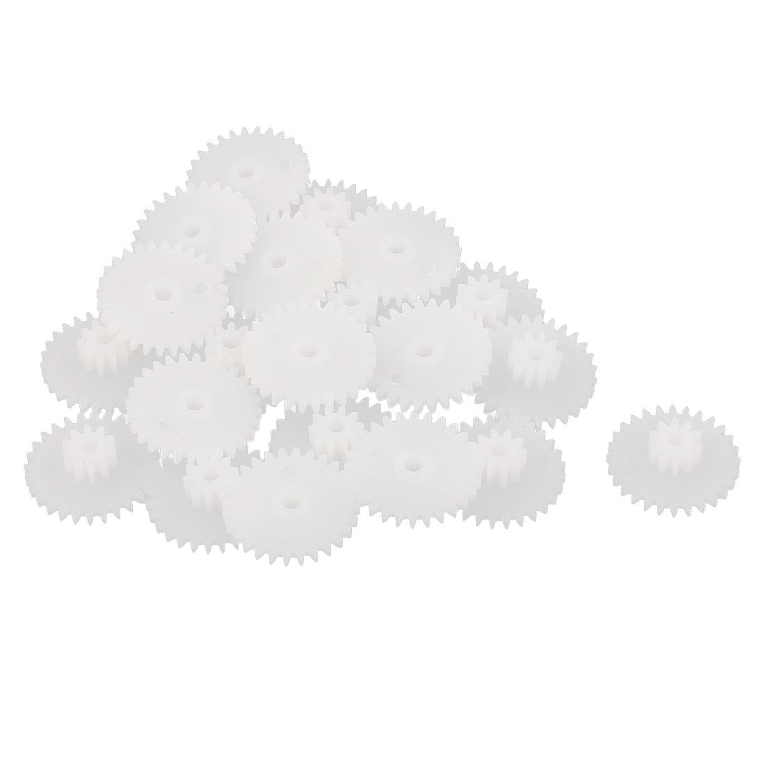 20PCS Double Deck 28102B Model White Plastic Gear for RC DIY Toys