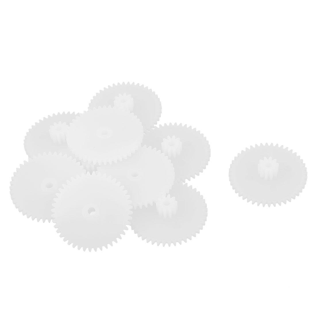 10PCS Double Deck 44102B Model White Plastic Gear for RC DIY Toys