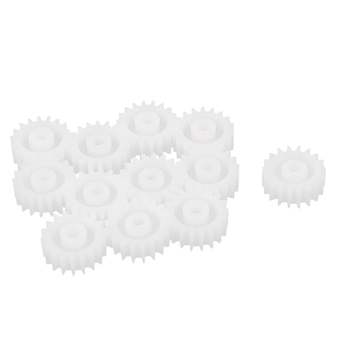 12 Pcs White Plastic 10mm Dia 18 Teeth Wheel Gears for Robot Models