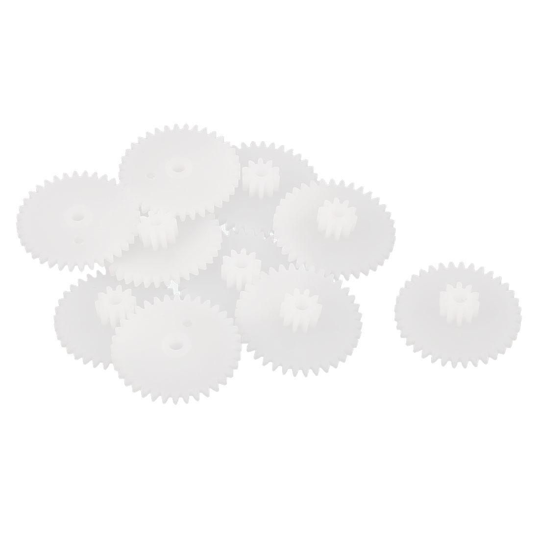10PCS Double Deck 36102B Model White Plastic Gear for RC DIY Toys