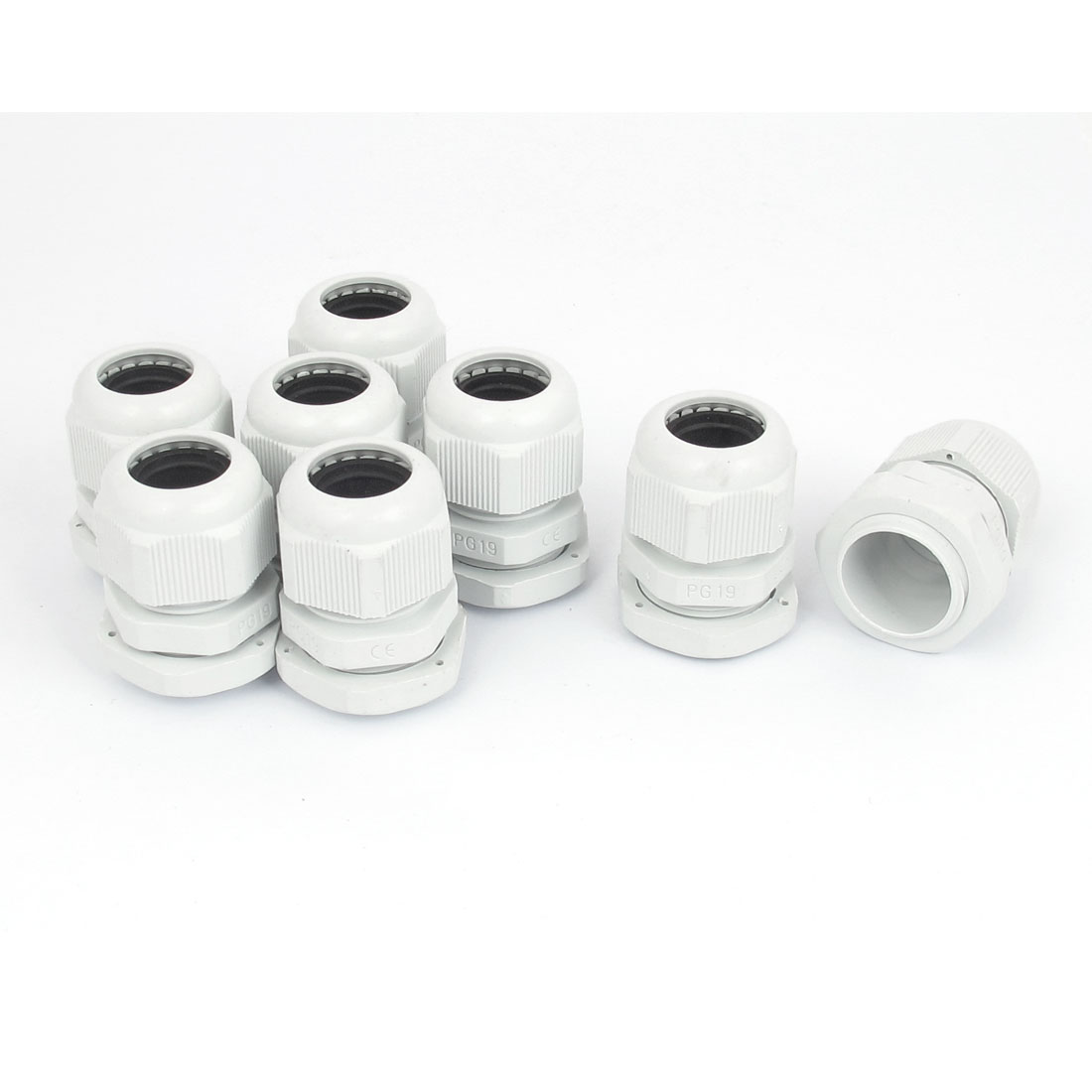 8pcs PG19 8-15mm Range Waterproof Wire Cable Fixing Glands Connector Joints Adapter White