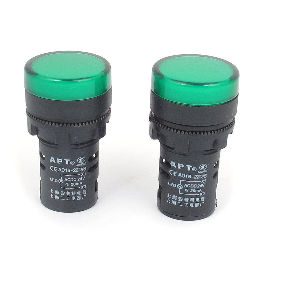 2pcs AC 24V 20mA Green Cap LED Power Indicator Pilot Signal Light Lamp Bulbs