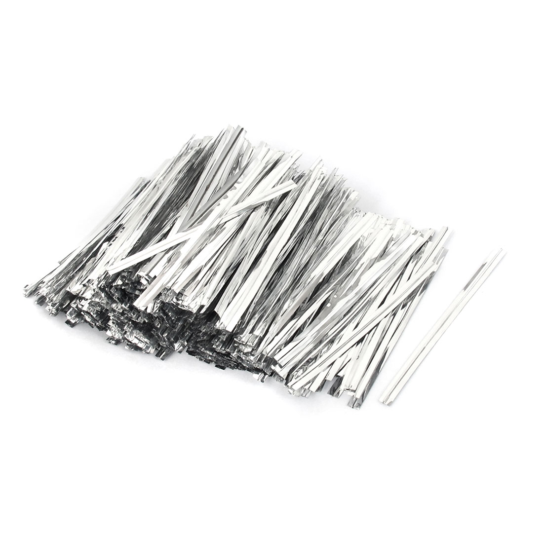 4000pcs 80mm Long Silver Tone Metal Twist Tie Wrapping String for Wedding Party Candy Bag