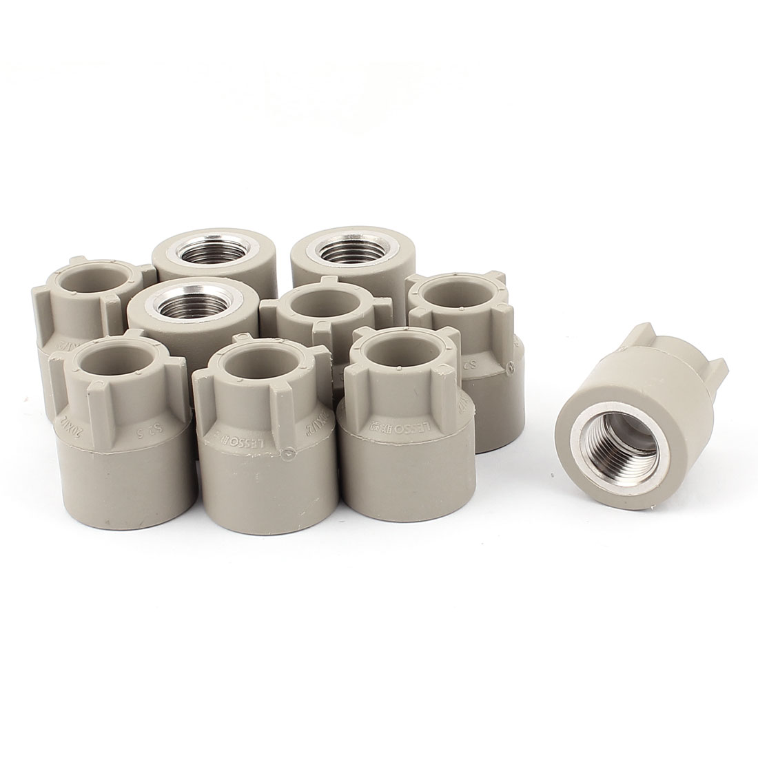 10pcs 1/2BSP Female Thread Straight PPR Pipe Fitting Connector Gray