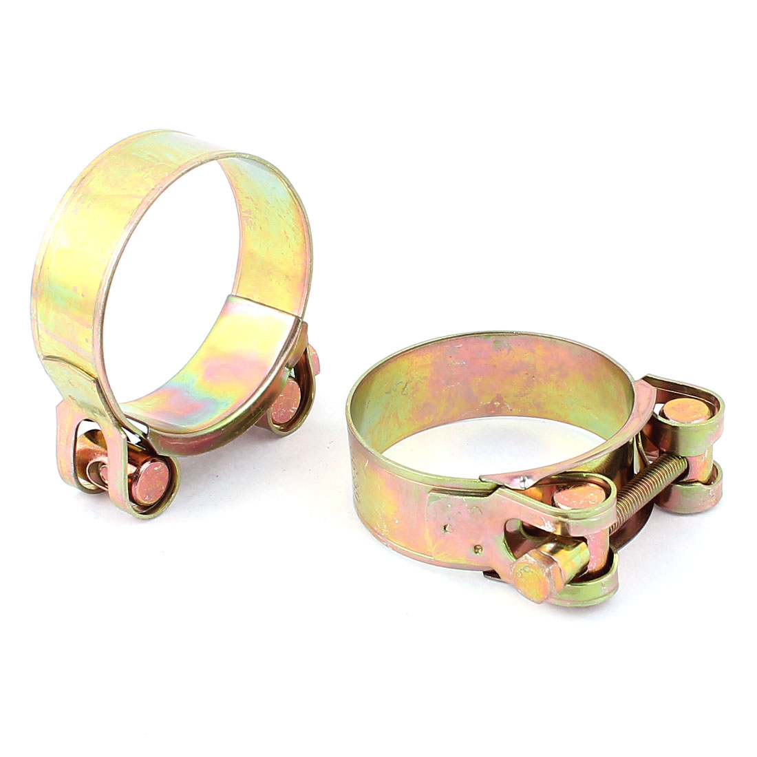 56-59mm Adjustable Range Water Oil Hose Clamp Clips Brass Tone 2pcs