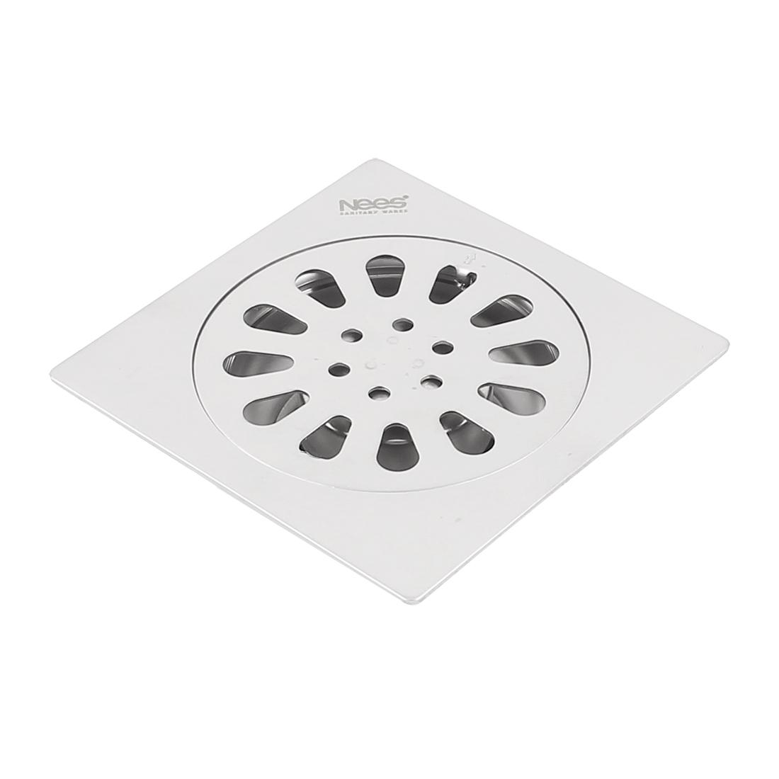Bathroom Shower Square Floor Drain Strainer Sink Filter Silver Tone