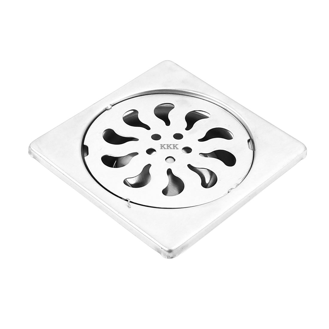 Bathroom Shower Floor Drain Strainer Sink 90x90x30mm Silver Tone
