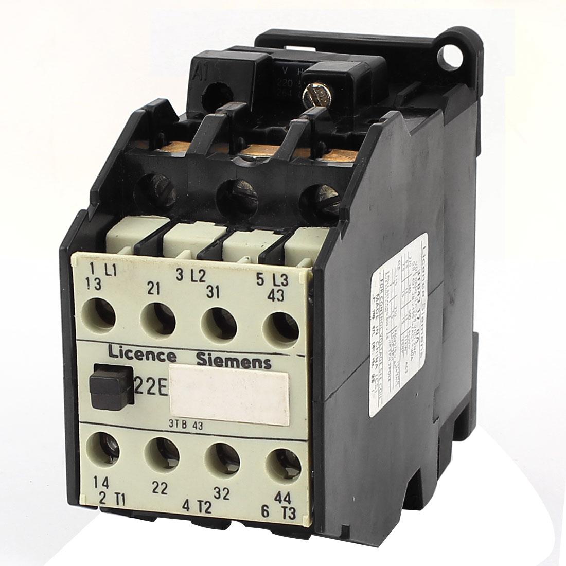 3TB43 Motor Control 220V/264V Coil Voltage 30A 3 Pole 2NO 2NC AC Contactor