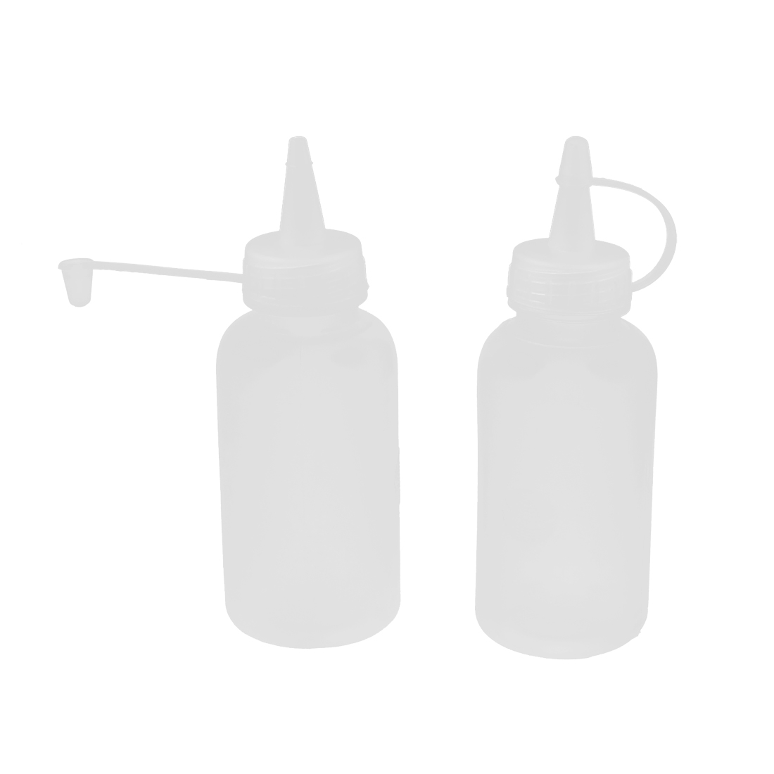 100ml Capacity Plastic Oil Liquid Bottle Holder Clear White 2pcs