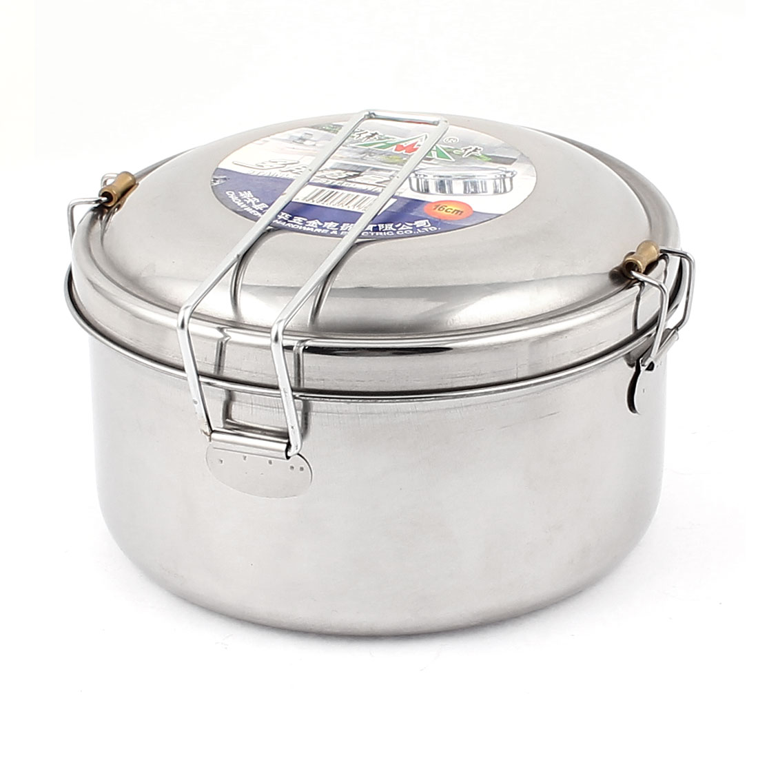 Stainless Steel Round Lunch Box Food Storage Container 16cm Dia Silver Tone