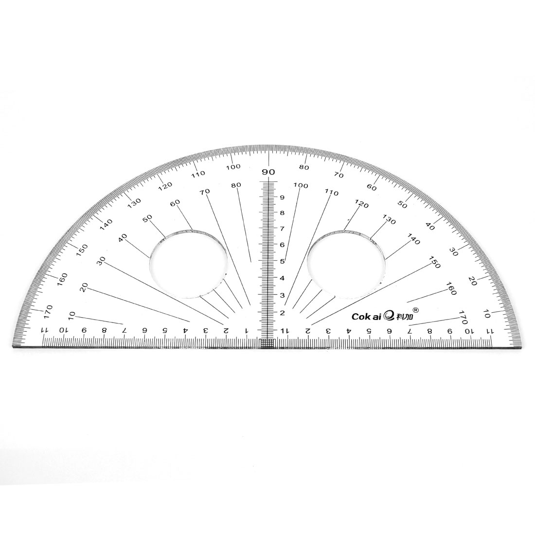 "School Office Plastic Semicircular Protractor Ruler 8"" Edge Clear"