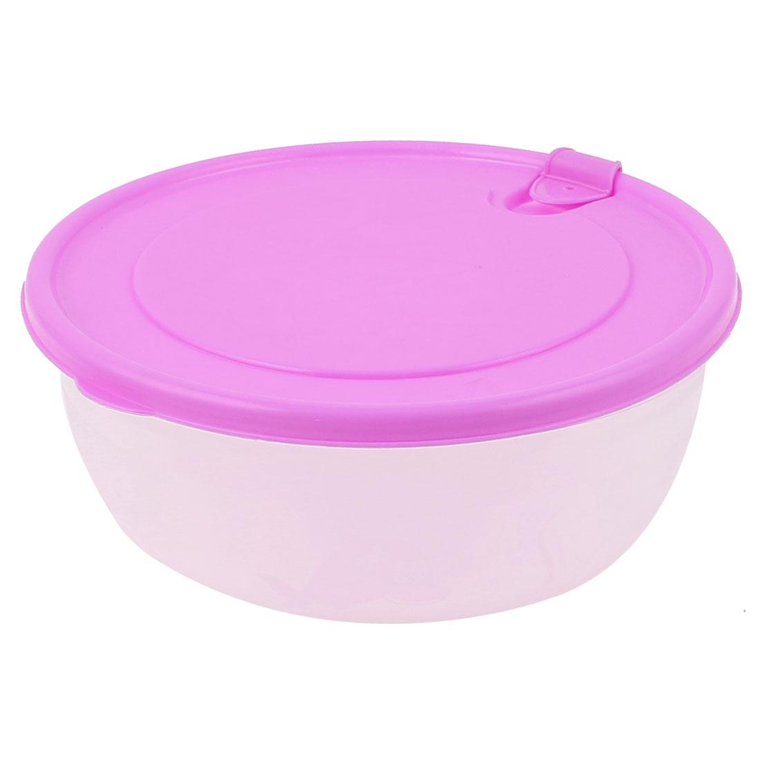 Plastic Round Shape Lid Refreshing Case Crisper Box Purple Clear