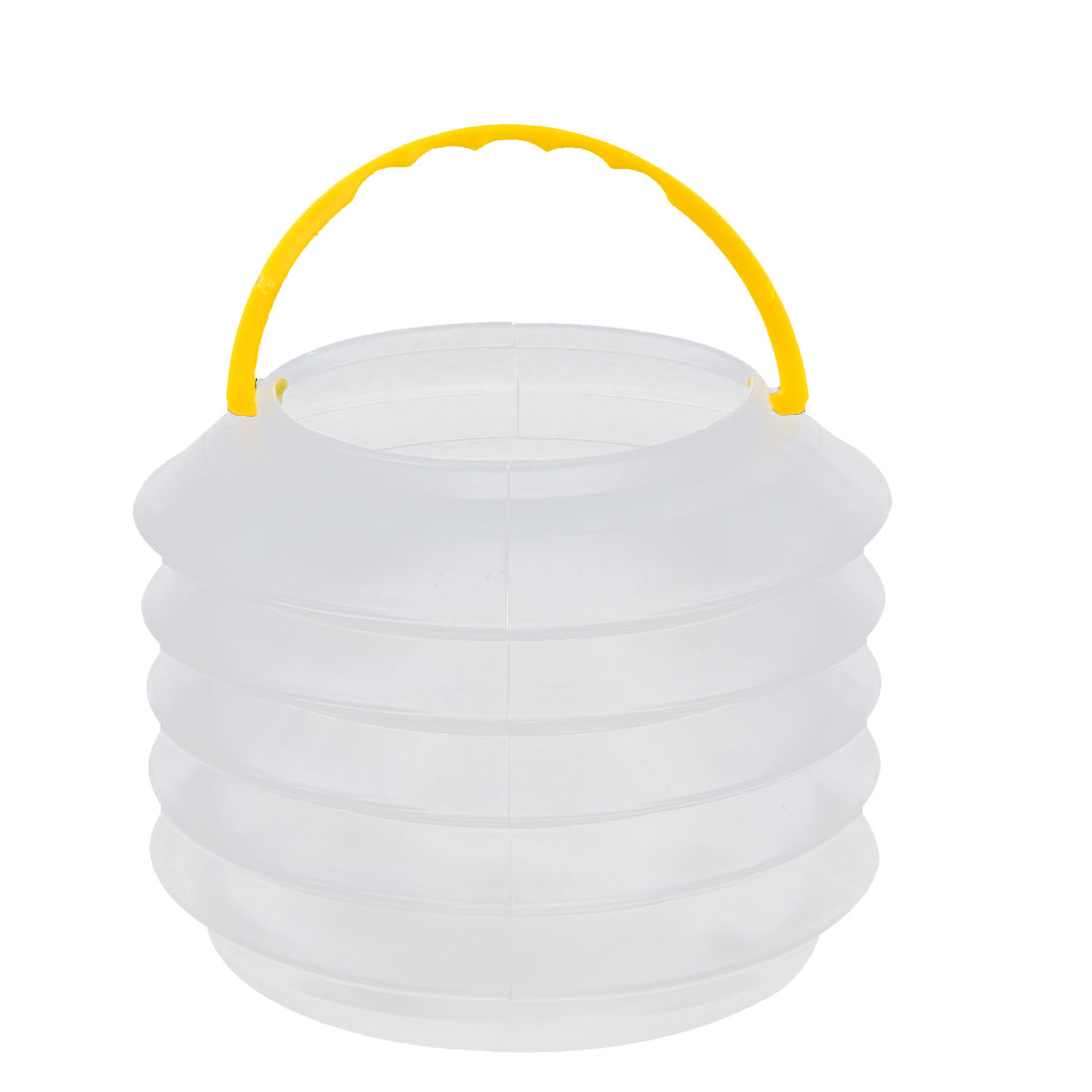 Plastic Telescopic Folding Water Bucket Container Clear Yellow