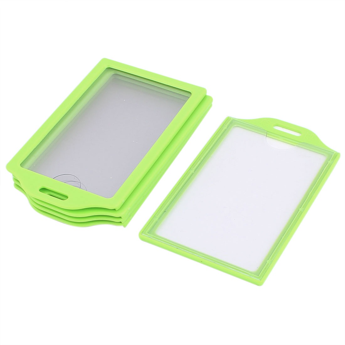 School Office Plastic Vertical Business ID Card Badge Holder Green Clear 5pcs