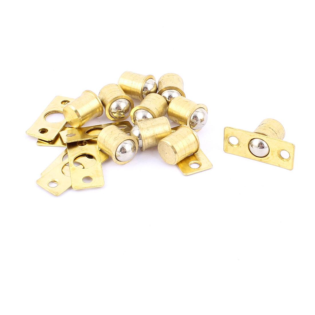 Closet Door 18mm x 14mm Ball Catch Latch Hardware Brass Tone 10pcs