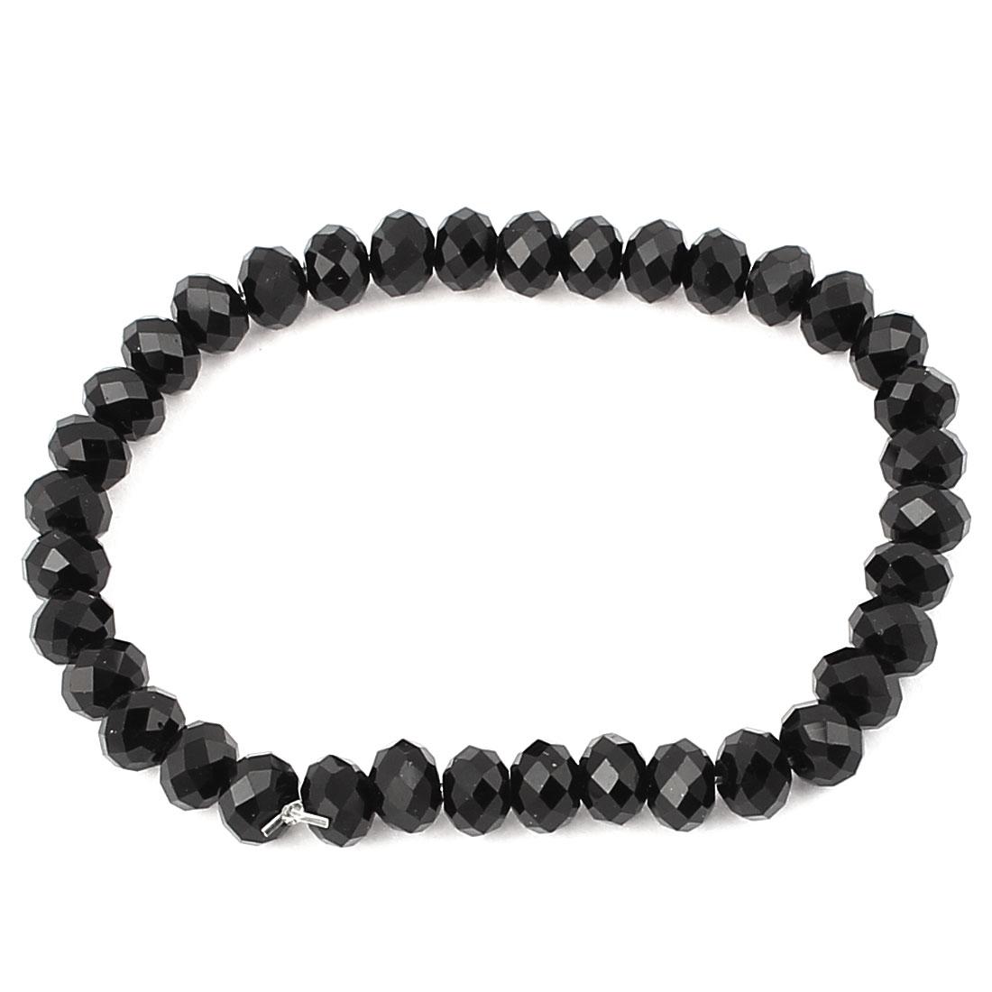 Lady Women Black 6mm Beads Adjustable Bracelet Wristband