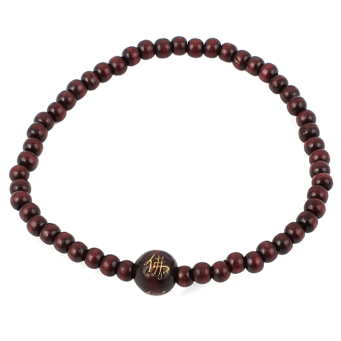Plastic Stretch Beaded Beads Buddhist Prayer Bracelet Burgundy