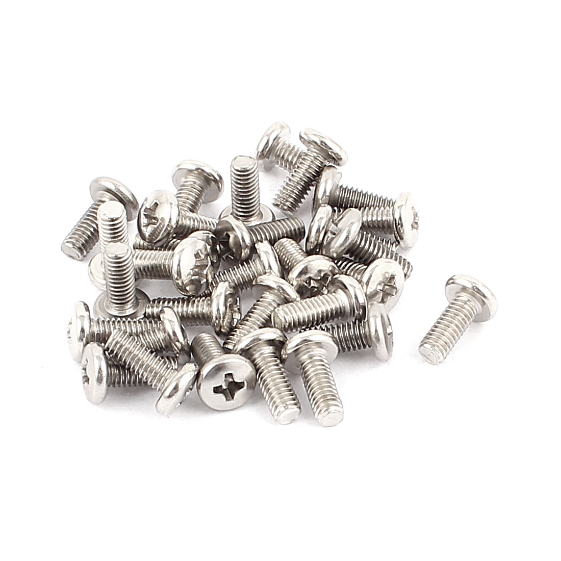 30pcs Stainless Steel M4x10mm Phillips Pan Head Machine Screws