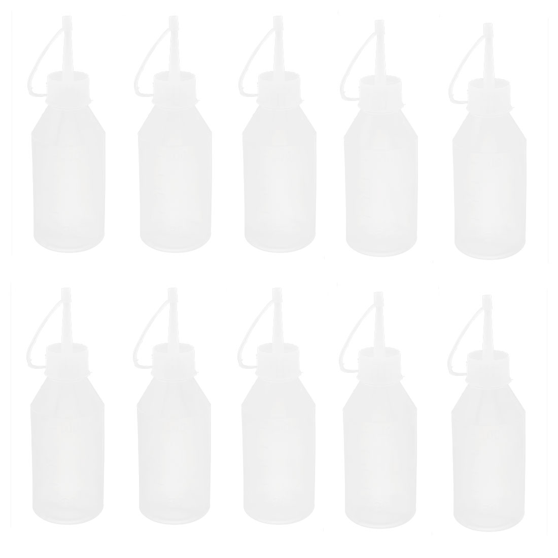 10pcs Plastic Oil Liquid Dispensing Squeeze Bottle 100ml Clear White