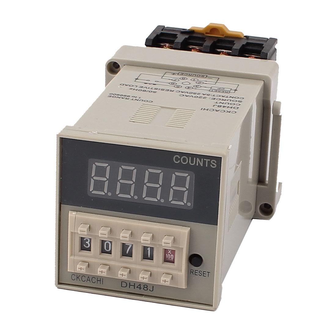 DH48J 8P AC 220V 1-999900 DIN Rail Timer Time Relay w Socket