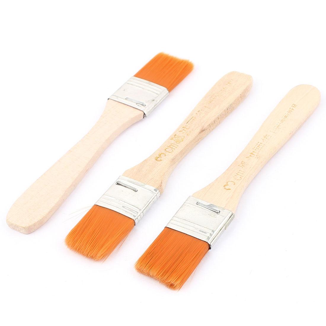 Wood Handle Nylon Oil Painting Paint Brushes Orange 3pcs