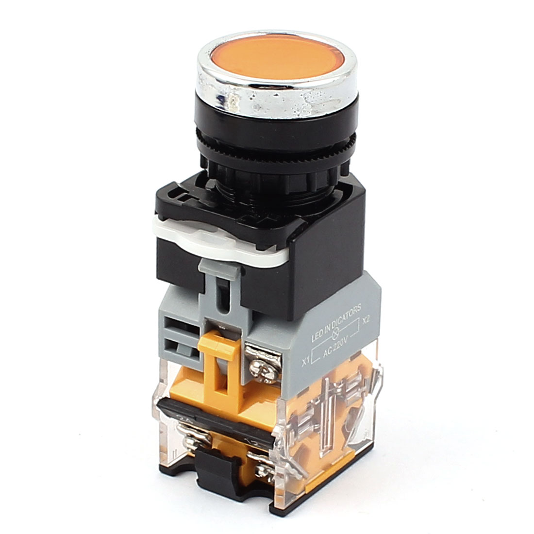 AC 380V 10A Self Locking Orange Cap Emergency Stop Push Button Switch