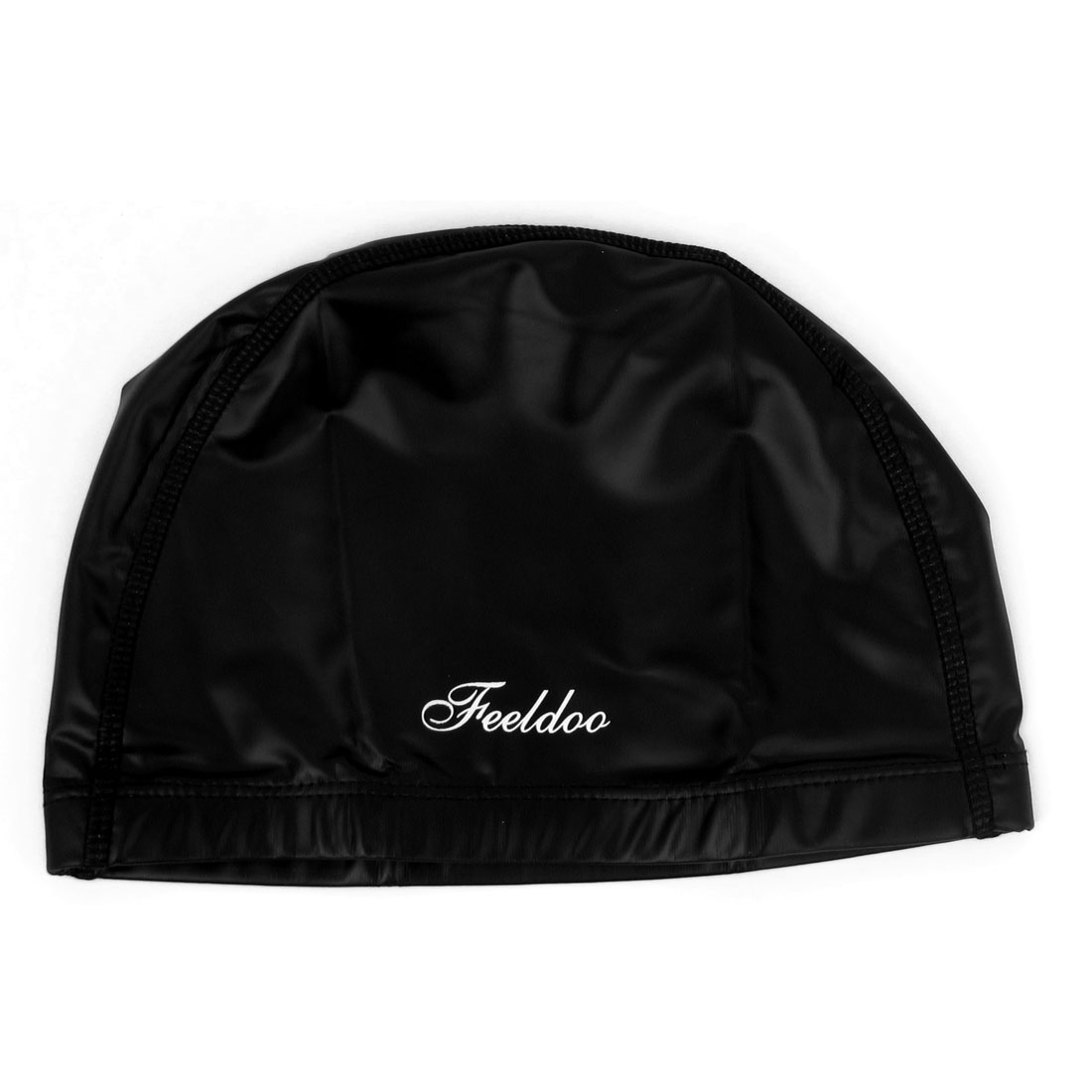 Adult PU Coated Dome Shape Stretch Swimming Swim Hat Cap Swimwear Black