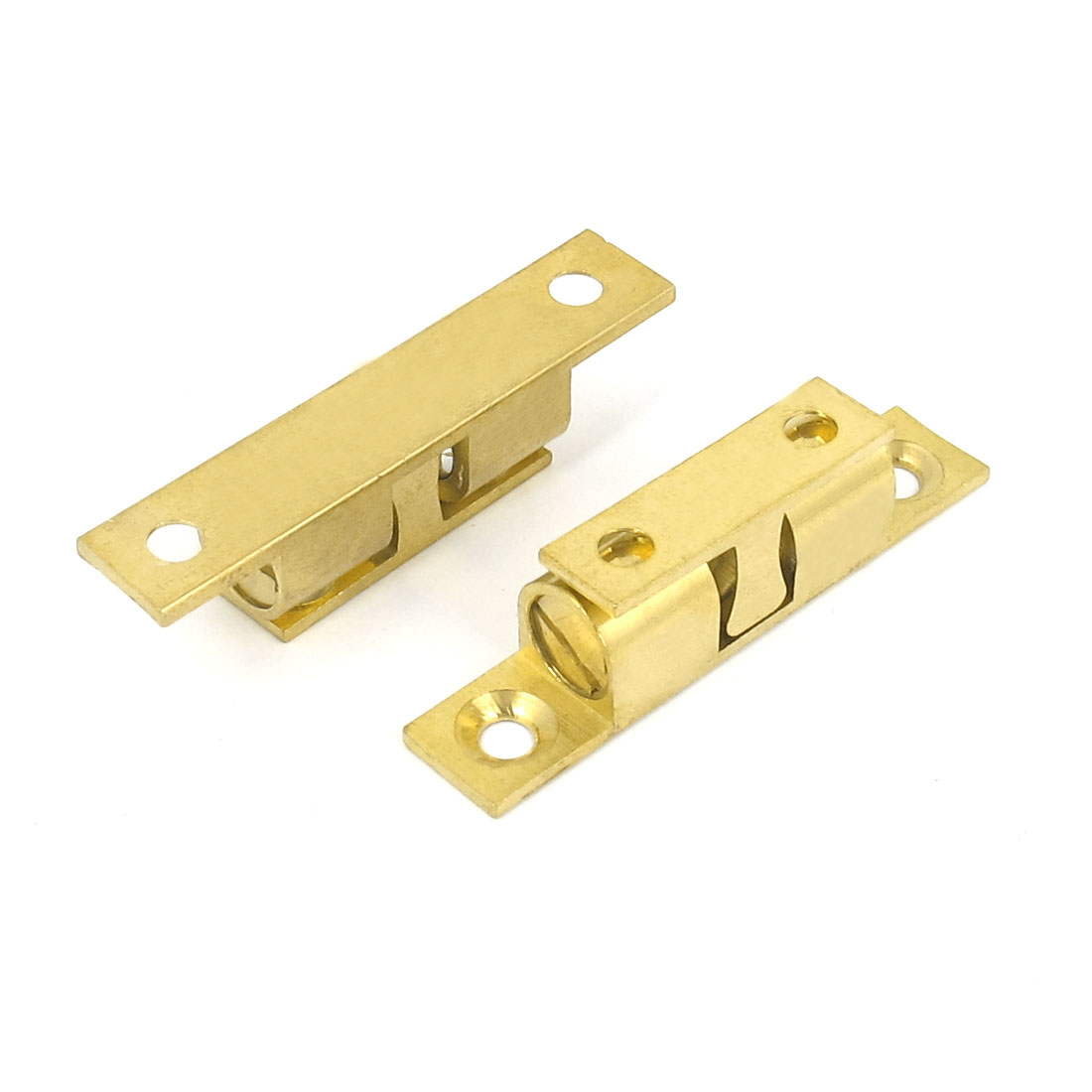 Furniture Cabinet Door Metal Double Ball Catch Latch Hardware Tool 50mm Long Gold Tone 2pcs